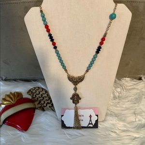 Hamsa with tassel pendant necklace